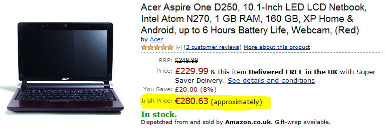 Amazon Product with Irish Price